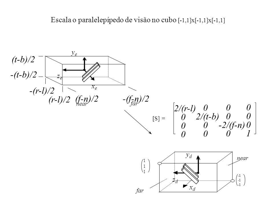 Escala o paralelepípedo de visão no cubo [-1,1]x[-1,1]x[-1,1]